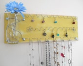 SALE Jewelry Board Hair Bow Organizer, Earring and Necklace Holder with Glass Vase, Yellow - IN STOCK