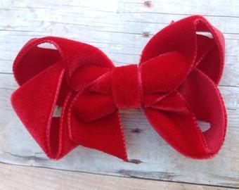 Red velvet hair bow - 3 inch red velvet bow, boutique bow, girls hair bow, red hair bow, girls bows, hair bows, velvet bows