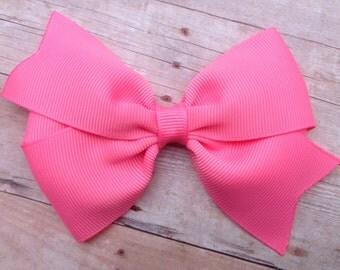 4 inch pink sorbet hair bow - hair bows, girls hair bows, toddler hair bows, baby bows, girls bows, 4 inch hair bows, pink bow, hair bow
