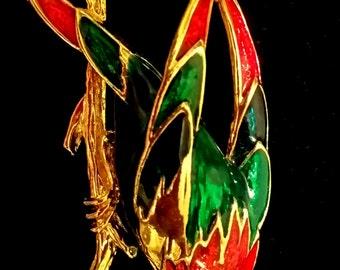 Colorful Enamel Vintage Bird on A Limb Brooch