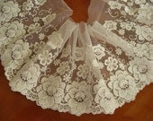 ivory lace trim , cotton embroidered mesh lace with retro flowers