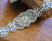 bridal sash applique, pearl and rhinestone applique, crystal bead applique, bridal belt