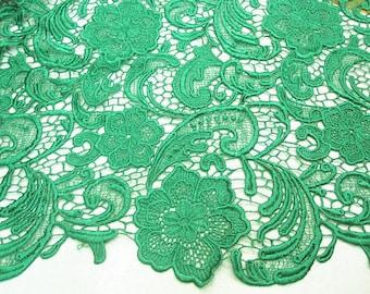 emerald green lace fabric, crochet lace fabric,  bridal lace, venise lace fabric