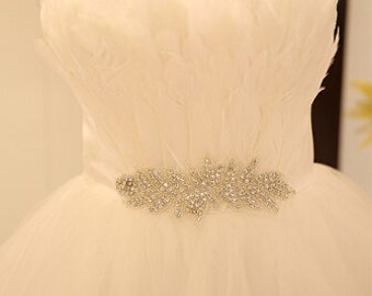rhinestone applique, crystal beaded applique, bridal sash applique with leaf design
