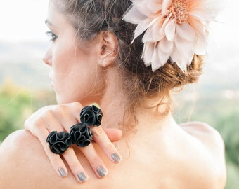 Rubber  ring. Black inner tube ring flower adjustable - Recycled Bicycle Tire Jewelry