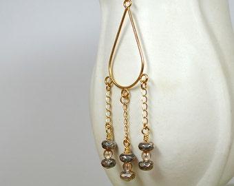 Boho chic gold teardrop hoop earring Long chain earring Beaded chandelier earrings Gold long dangle earrings Business casual jewelry