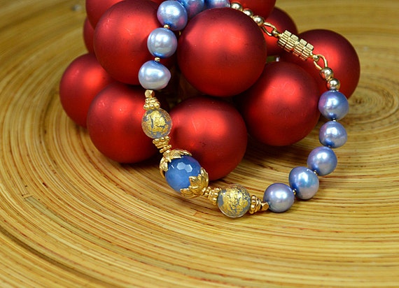 Sophisticated blue pearl bracelet with Blue chalcedony 24k gold vermeil and Venetian Murano glass bead bracelet Freshwater pearl jewelry