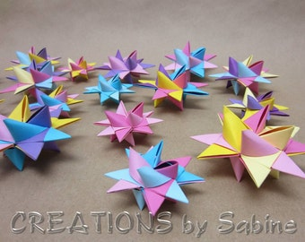 3-D Star Ornaments Set of 18, Paper Stars Nursery Decoration 10 large 8 small / pink purple yellow blue pastels Origami READY TO SHIP (63)