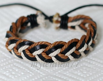 617 Men's black leather bracelet Leather cords bracelet Ropes bracelet Braided bracelet Woven jewelry Birthday gift For men & women