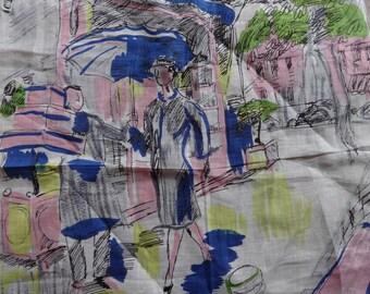 Vintage CELEBRITEES HANKY Irish Linen High Fashion Ladies Accessory Paris New York Shopping Water Color Print Umbrella Movie Star