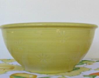 Antique Shawnee Yellow Crock Bowl, Snowflake Design, USA Yellow Ware,
