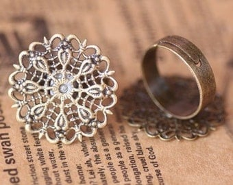 Ring Blanks -- 10pcs Adjustable Bronze Brass Filigree Ring Base