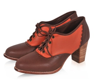 DANTELLA. Leather oxfords / brown leather shoes  / oxford booties / oxford heels. Sizes US 4-13. Available in different leather colors.