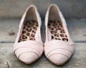 SALE - Blush Wedding Flats - Wedding Flats/Wedding Shoes, Blush Flats on SALE with Ivory Lace. US Size 7