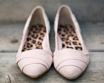 SALE - Wedding Flats - Blush Wedding Flats/Wedding Shoes, Blush Flats with Ivory Lace. US Size 6