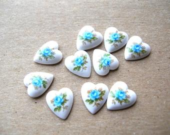 Vintage Blue Heart Cabochons - Porcelain Rose Cabochons - Blue Roses - Vintage Cabochons - Japanese Cabochons - Valentines Day