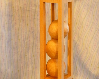 Ball in a Cage with Decorative Carving Details - Three Ball Trick Carving