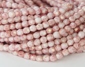 Opaque Topaz Pink Luster Czech Glass Beads, 4mm Faceted Round - 100 pcs - eP15495-4