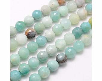 Faceted Amazonite Beads, 8mm Round - 15 inch strand - eGF-AZ001-8