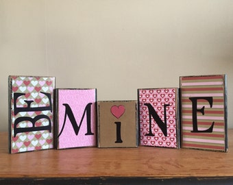 Valentine's Day - Wood Be Mine blocks - Wood valentines day Sign - Valentine's day decor - Seasonal Winter Home Decor fireplace mantel- book