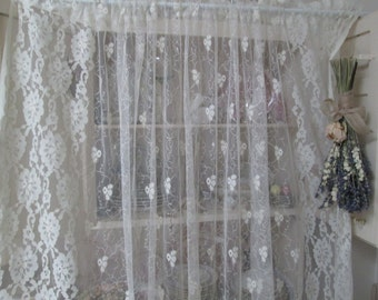 romantic vintage lace panels gorgeous cream lace panel shabby chic cottage lace curtain panel by herminas cottage
