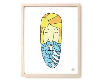 "Surfing Art Print ""Surf Beard"""