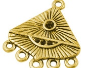 10 Tibetan Style alloy connector, triangle, chandelier component,  lead free, cadmium free, golden