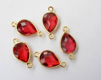 5 x gold framed crystal stone connectors 20mm x 10mm with loops, red