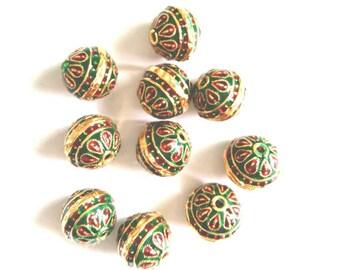 Meenakari round beads, enamel beads, Indian beads x 5, 10mm