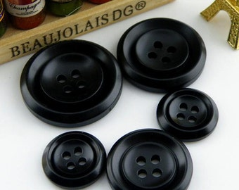 6 pcs 0.63~1.10 inch Black 4 Hole Resin Shell Buttons for Suits Coats