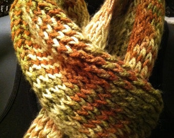 Vintage winter knitted scarf Burnt Orange and Green Cozy and Warm