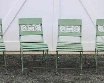 Four French Style Garden Chair Iron and Wood