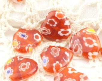 12mm Red Millefiori Heart Glass Beads (6)