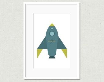 Modern rocket print, rocket art, blue rocket, modern nursery art, nursery decor, kids room decor, colorful nursery art, modern kids art