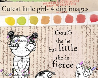 Quirky and whimsical little baby girl digi stamp set with accessories and quote for creative card making.