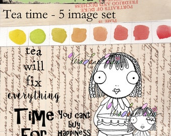 Whimsical tea gal digi stamp set available for instant download
