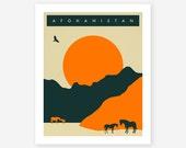 AFGHANISTAN Travel Poster, Retro Pop Artwork, Giclee Fine Art Print, Home Decor, Wall Art