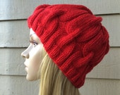 Hand knitted red hat, chain link pattern