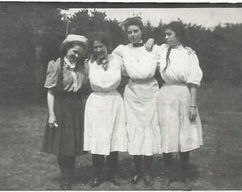 Old Photo Group Women wearing Skirts 1910s Photograph snapshot vintage