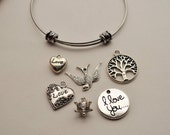 Bangle Charm Bracelet, Wire Cuff Charm Bracelet, Adjustable and Expandable Charm Bracelets with Photo Charms and Hand Stamped Metal Tags