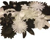 100 Flower Petals-Black & White Fabric Petals-DIY Flowers for hair clips, bouquets, crafts, etc.