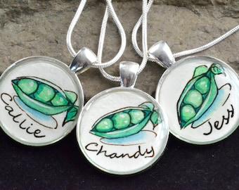3 friendship necklaces, best friend necklace set, 3 peas in a pod