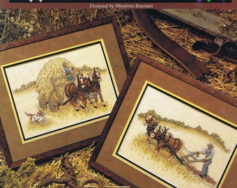 Farming The Land Cross Stitch Chart - Ploughing - Gathering Hay - 2 Designs