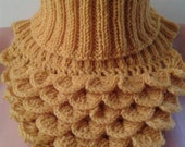 Camel Crocodile Stitch Cowl Scarf, Crocheted and Knitted Neckwarmer