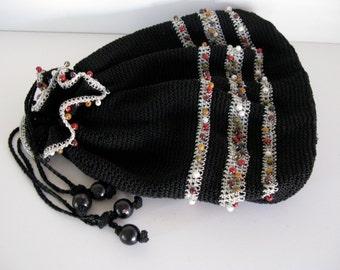 Vintage BEADED Purse/CLOTH SACK Purse/Draw String Open and Close Design/Women Purses/Cloth Purses/Beaded Hand Purse/Shoulder Bags/Handbags