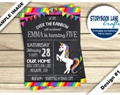 Rainbow Unicorn Invitation, Unicorn Invitation, Rainbow Invitation, Chalkboard Invite Birthday Party PRINTABLE, Girl, 2 Designs Photo Option
