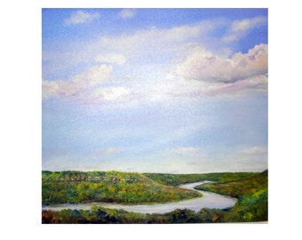 Original art, acrylic. large painting, painting of the south,  Chattanooga, clouds, landscape, Tennessee River gorge, sky painting, river