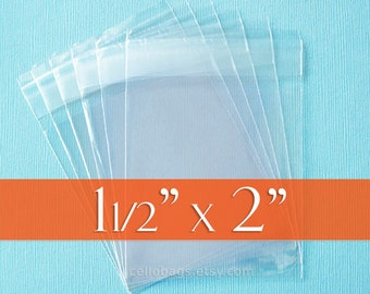 300 Self Stick Seal,  1.5 x 2 inch Clear Cello Bags, 1.8 mil Packaging, Tiny Sample Bags, Flap Seal
