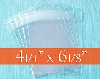 1000 4 1/4 x 6 1/8 Inch Resealable Cello Bags for 4x6 Cards, Clear Cello Packaging, Tape on LIP