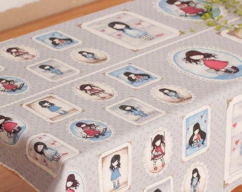 "Cartoon Illustration Fabric Cloth Blue Purple Cotton Linen Blended Fabric With Cute Girls- One Panel 60""x 23"""